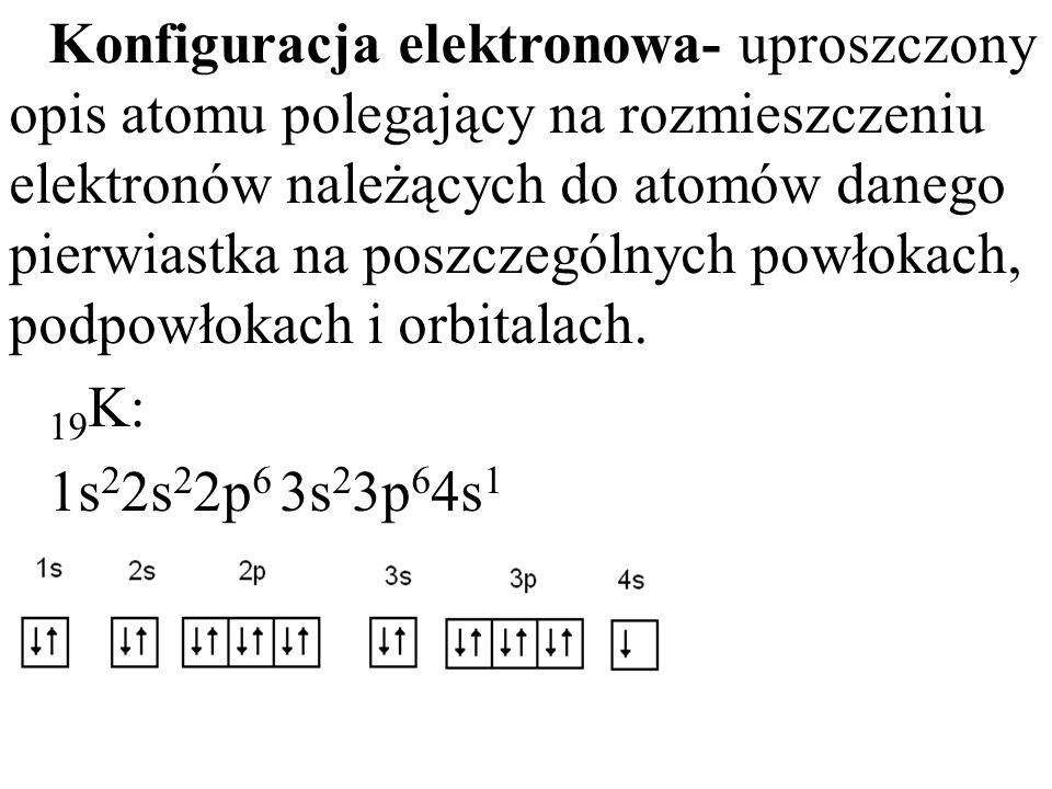 Konfiguracja elektronowa- uproszczony opis atomu polegający na rozmieszczeniu elektronów należących do atomów danego pierwiastka na poszczególnych pow