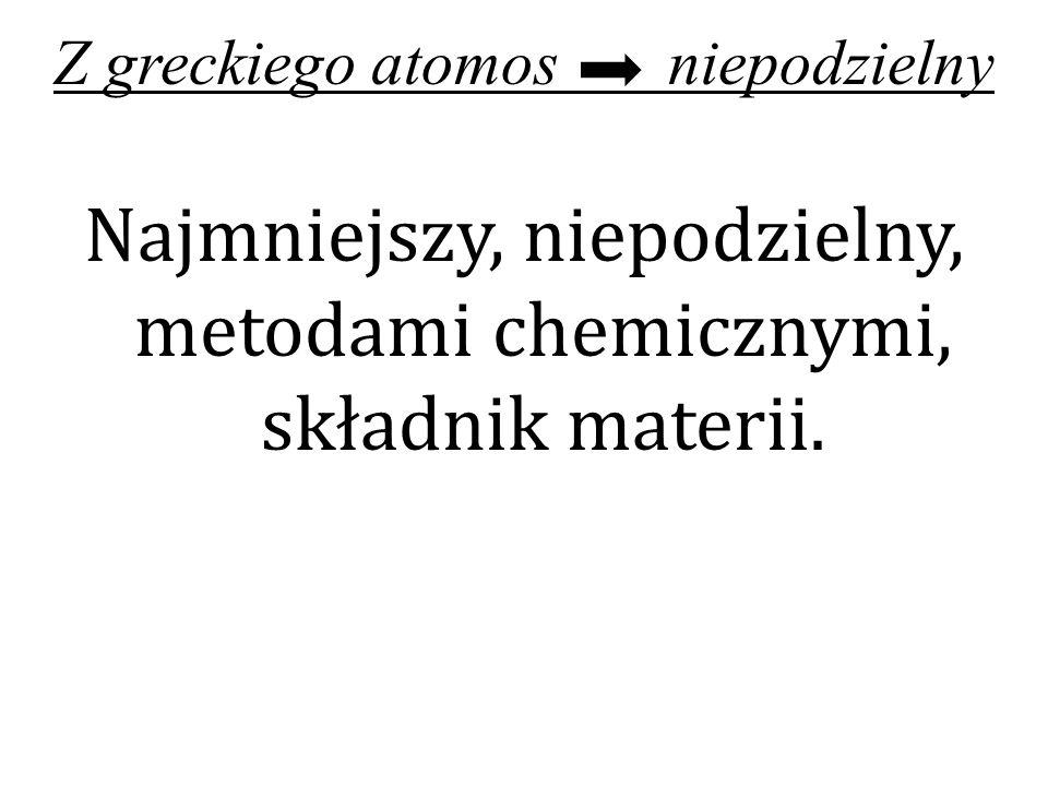 Z greckiego atomos niepodzielny Najmniejszy, niepodzielny, metodami chemicznymi, składnik materii.