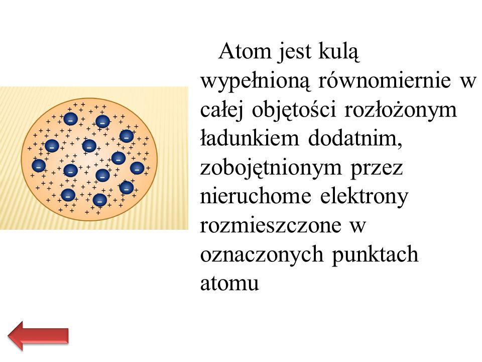 Atom jest kulą wypełnioną równomiernie w całej objętości rozłożonym ładunkiem dodatnim, zobojętnionym przez nieruchome elektrony rozmieszczone w oznac