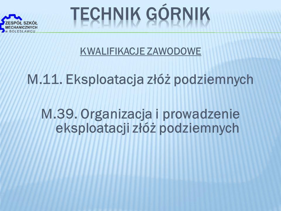 KWALIFIKACJE ZAWODOWE M.11. Eksploatacja złóż podziemnych M.39. Organizacja i prowadzenie eksploatacji złóż podziemnych