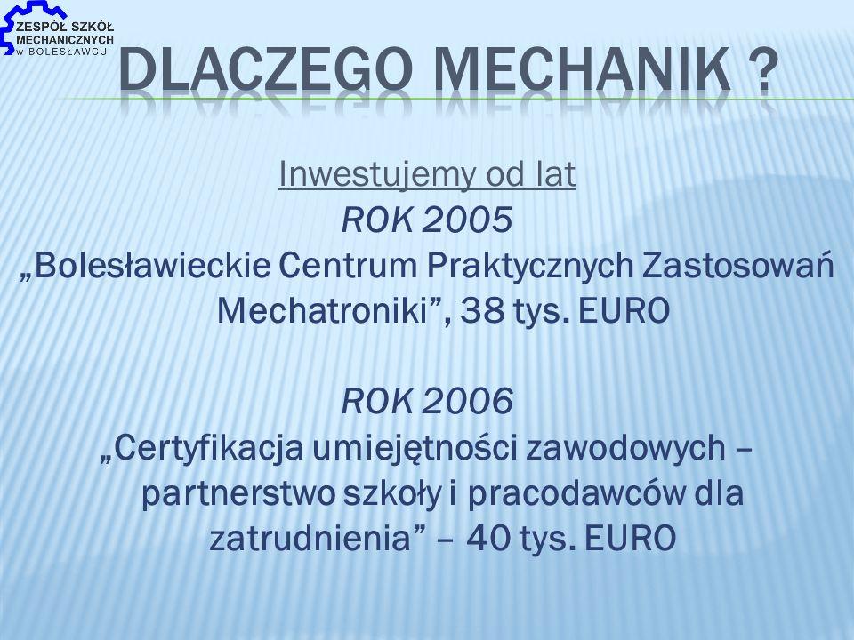 """Inwestujemy od lat ROK 2005 """"Bolesławieckie Centrum Praktycznych Zastosowań Mechatroniki"""", 38 tys. EURO ROK 2006 """"Certyfikacja umiejętności zawodowych"""