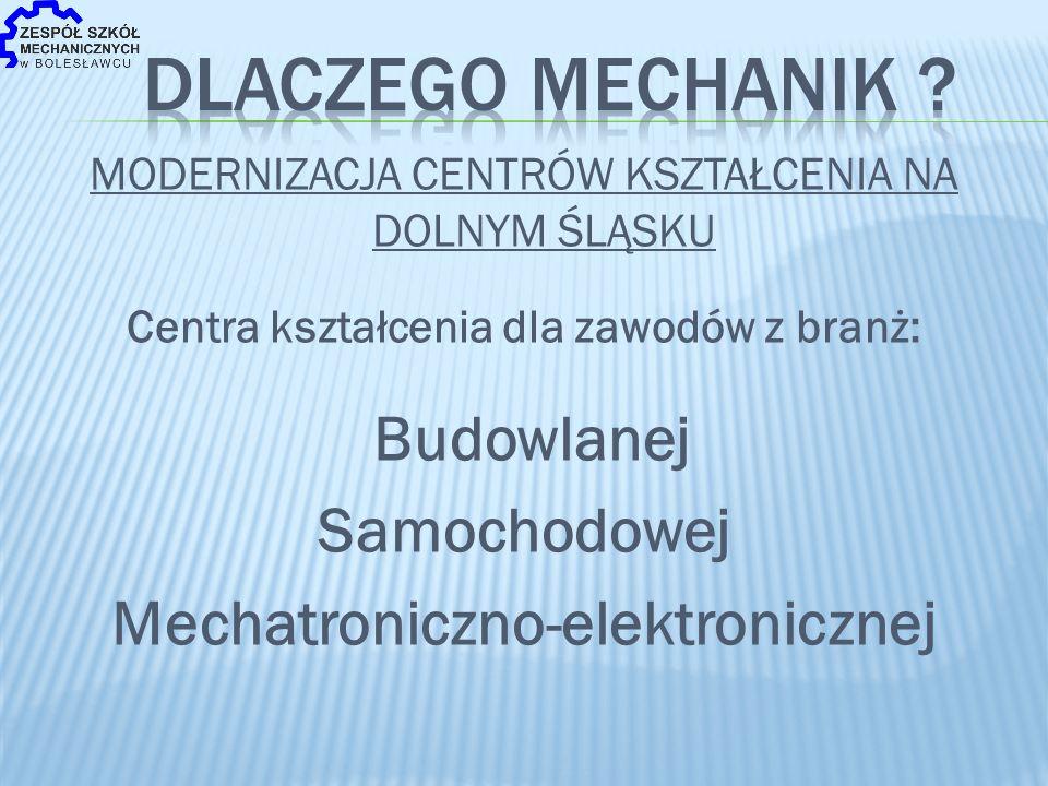 MODERNIZACJA CENTRÓW KSZTAŁCENIA NA DOLNYM ŚLĄSKU Centra kształcenia dla zawodów z branż: Budowlanej Samochodowej Mechatroniczno-elektronicznej