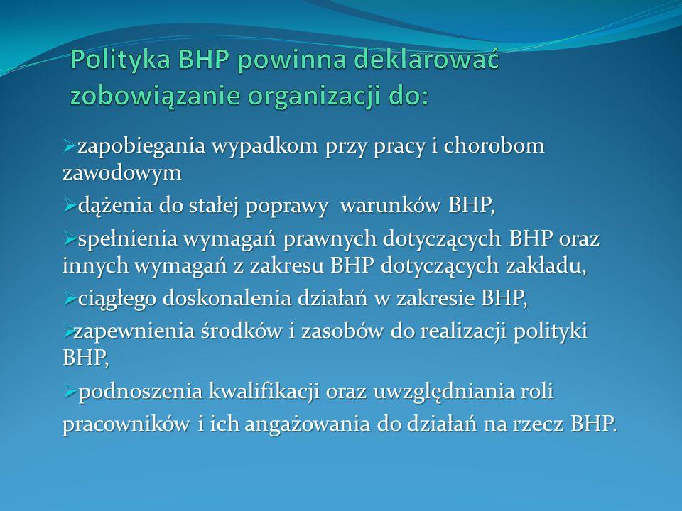 zapobiegania wypadkom przy pracy i chorobom zawodowym  zapobiegania wypadkom przy pracy i chorobom zawodowym  dążenia do stałej poprawy warunków BHP