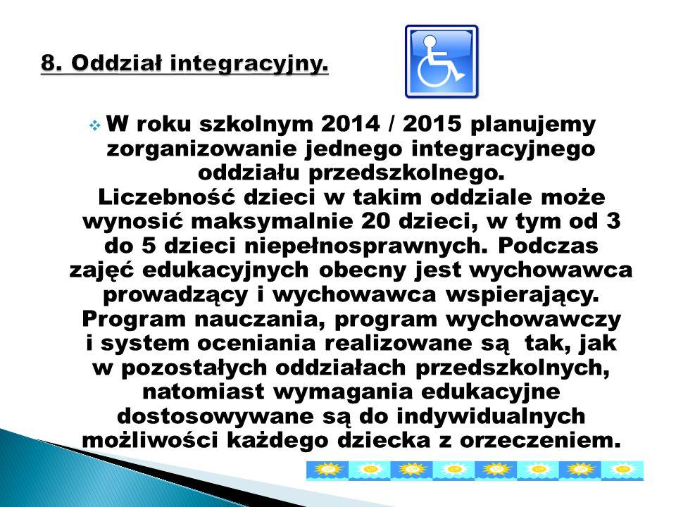  W roku szkolnym 2014 / 2015 planujemy zorganizowanie jednego integracyjnego oddziału przedszkolnego. Liczebność dzieci w takim oddziale może wynosić