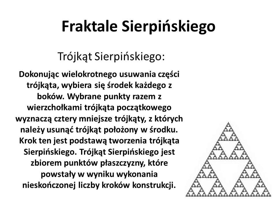 Fraktale Sierpińskiego Trójkąt Sierpińskiego: Dokonując wielokrotnego usuwania części trójkąta, wybiera się środek każdego z boków. Wybrane punkty raz
