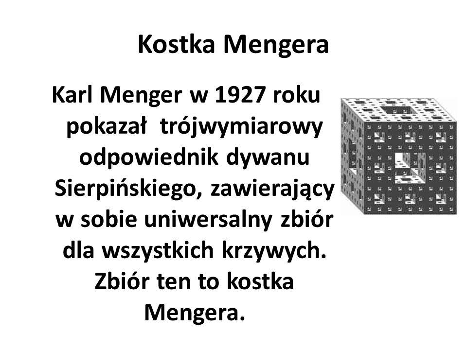 Kostka Mengera Karl Menger w 1927 roku pokazał trójwymiarowy odpowiednik dywanu Sierpińskiego, zawierający w sobie uniwersalny zbiór dla wszystkich kr