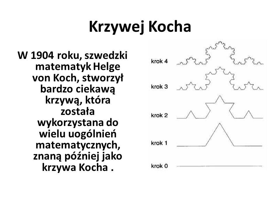 Krzywej Kocha W 1904 roku, szwedzki matematyk Helge von Koch, stworzył bardzo ciekawą krzywą, która została wykorzystana do wielu uogólnień matematycz