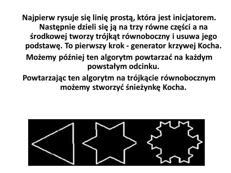 Najpierw rysuje się linię prostą, która jest inicjatorem. Następnie dzieli się ją na trzy równe części a na środkowej tworzy trójkąt równoboczny i usu