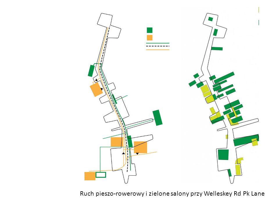 Ruch pieszo-rowerowy i zielone salony przy Welleskey Rd Pk Lane