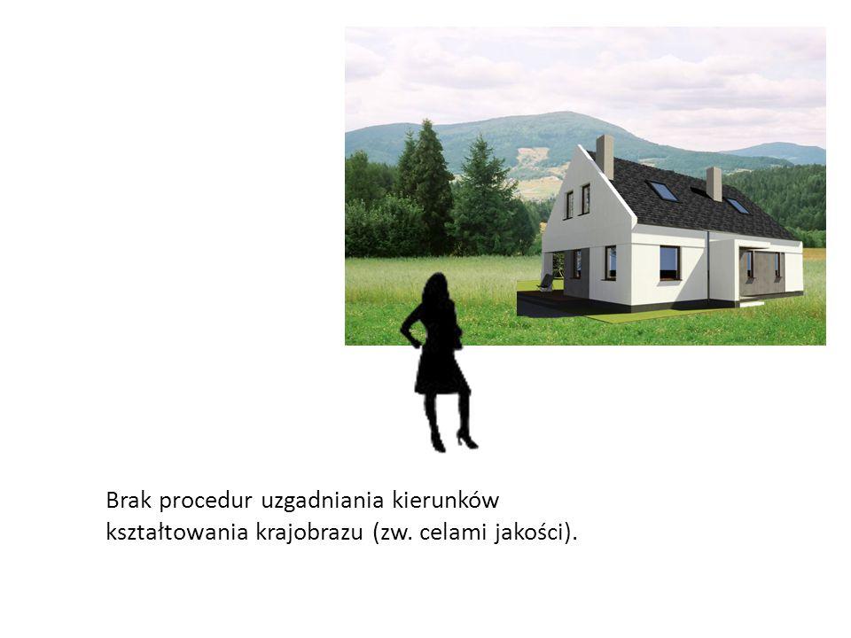 Brak procedur uzgadniania kierunków kształtowania krajobrazu (zw. celami jakości).
