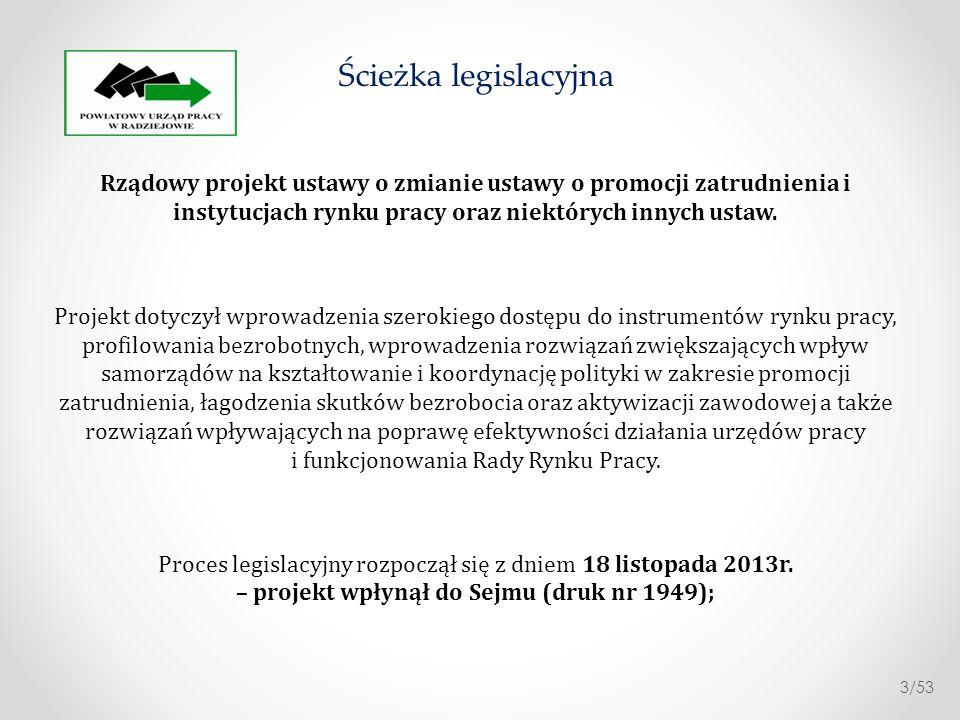 26 listopada 2013r.- Skierowano do I czytania na posiedzeniu Sejmu; 04 grudnia 2013r.