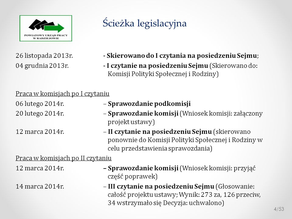17 marca 2014r.– Ustawę przekazano Prezydentowi i Marszałkowi Senatu 10 kwietnia 2014r.