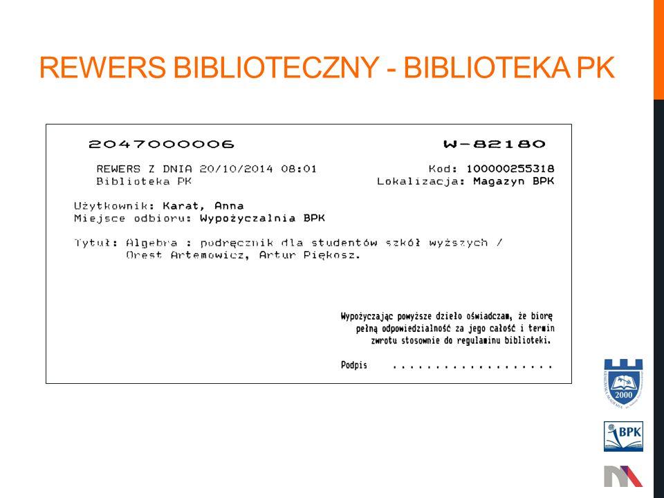 REWERS BIBLIOTECZNY - BIBLIOTEKA PK
