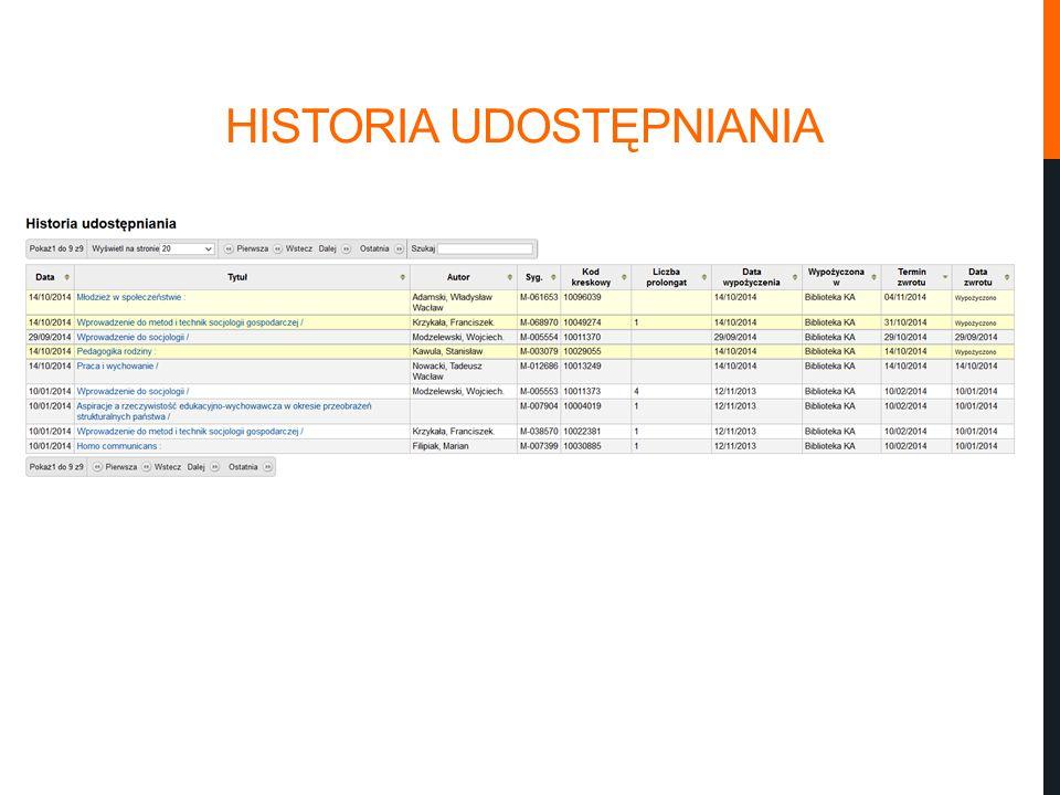 HISTORIA UDOSTĘPNIANIA