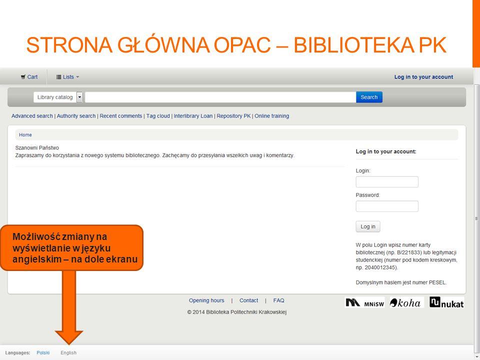 Możliwość zmiany na wyświetlanie w języku angielskim – na dole ekranu