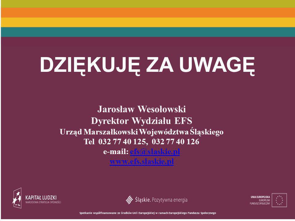 Spotkanie współfinansowane ze środków Unii Europejskiej w ramach Europejskiego Funduszu Społecznego DZIĘKUJĘ ZA UWAGĘ Jarosław Wesołowski Dyrektor Wydziału EFS Urząd Marszałkowski Województwa Śląskiego Tel 032 77 40 125, 032 77 40 126 e-mail: efs@slaskie.plefs@slaskie.pl www.efs.slaskie.pl