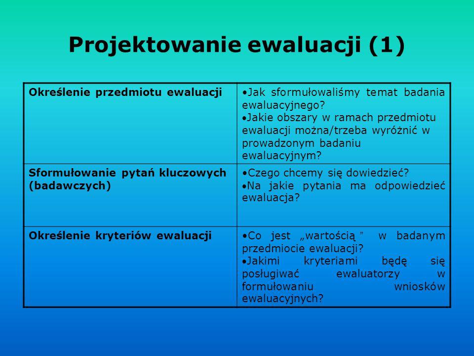 Projektowanie ewaluacji (1) Określenie przedmiotu ewaluacjiJak sformułowaliśmy temat badania ewaluacyjnego? Jakie obszary w ramach przedmiotu ewaluac
