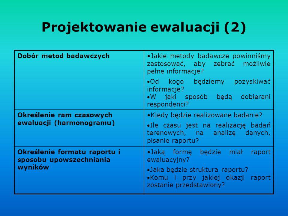 Projektowanie ewaluacji (2) Dobór metod badawczychJakie metody badawcze powinniśmy zastosować, aby zebrać możliwie pełne informacje? Od kogo będziemy