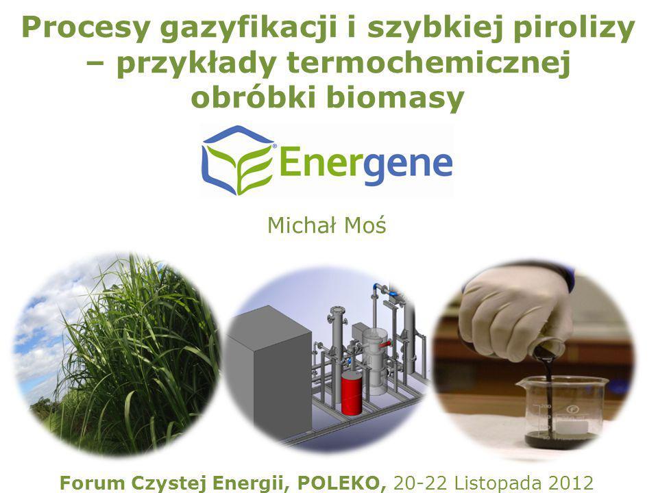 Procesy gazyfikacji i szybkiej pirolizy – przykłady termochemicznej obróbki biomasy Forum Czystej Energii, POLEKO, 20-22 Listopada 2012 Michał Moś