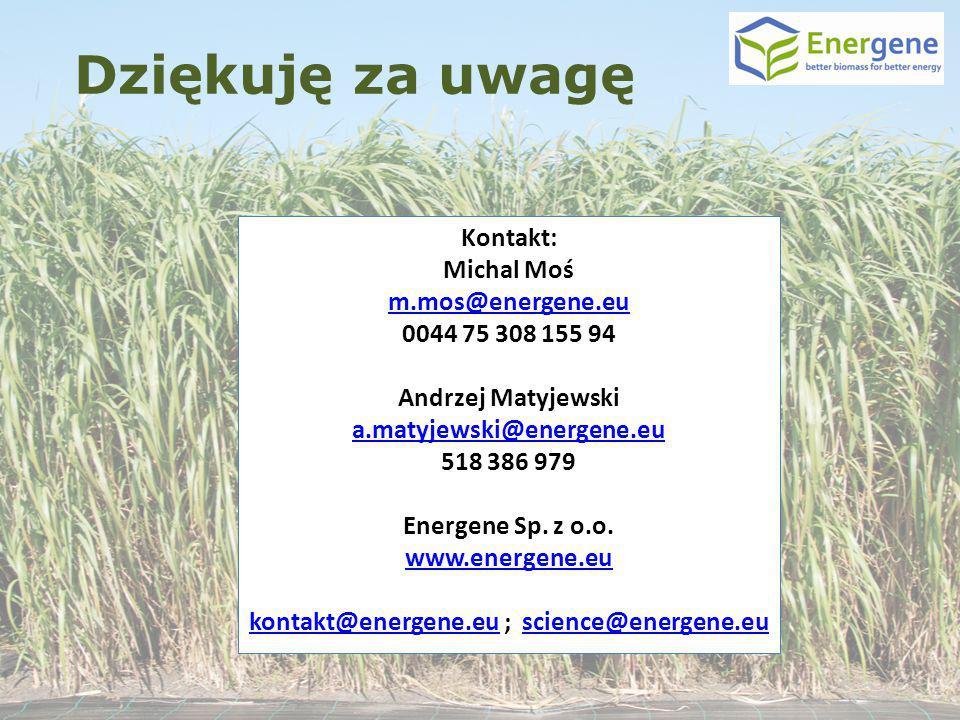 Kontakt: Michal Moś m.mos@energene.eu 0044 75 308 155 94 Andrzej Matyjewski a.matyjewski@energene.eu 518 386 979 Energene Sp. z o.o. www.energene.eu k
