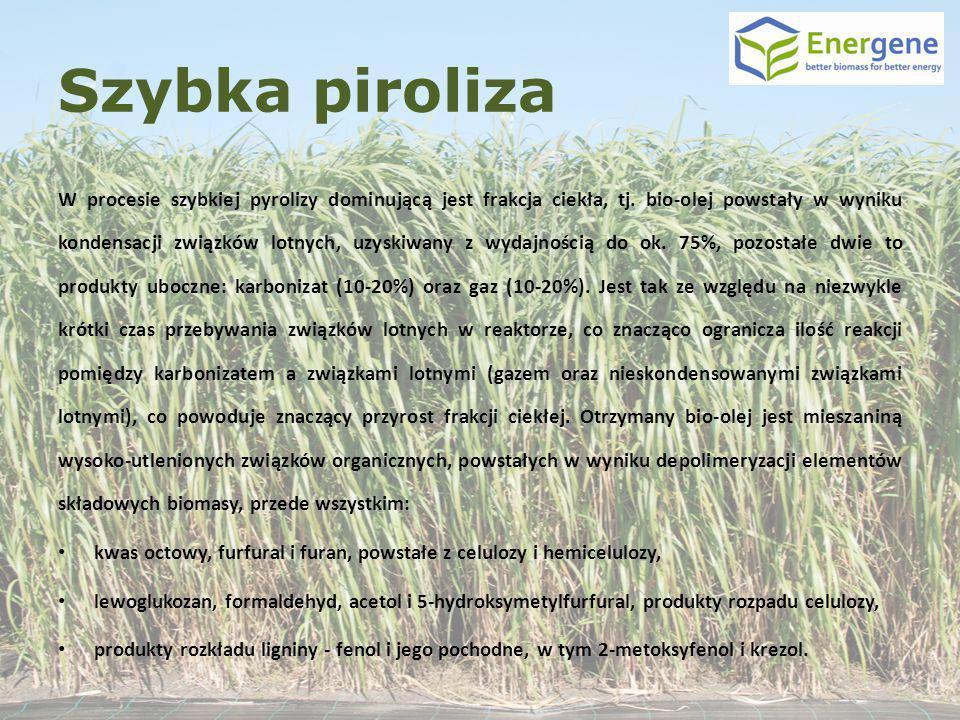 Szybka piroliza W procesie szybkiej pyrolizy dominującą jest frakcja ciekła, tj. bio-olej powstały w wyniku kondensacji związków lotnych, uzyskiwany z