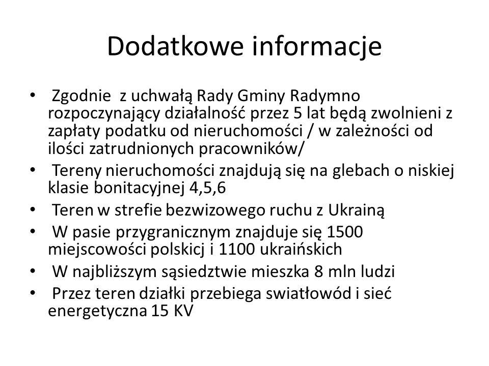 Dodatkowe informacje Zgodnie z uchwałą Rady Gminy Radymno rozpoczynający działalność przez 5 lat będą zwolnieni z zapłaty podatku od nieruchomości / w zależności od ilości zatrudnionych pracowników/ Tereny nieruchomości znajdują się na glebach o niskiej klasie bonitacyjnej 4,5,6 Teren w strefie bezwizowego ruchu z Ukrainą W pasie przygranicznym znajduje się 1500 miejscowości polskicj i 1100 ukraińskich W najbliższym sąsiedztwie mieszka 8 mln ludzi Przez teren działki przebiega swiatłowód i sieć energetyczna 15 KV