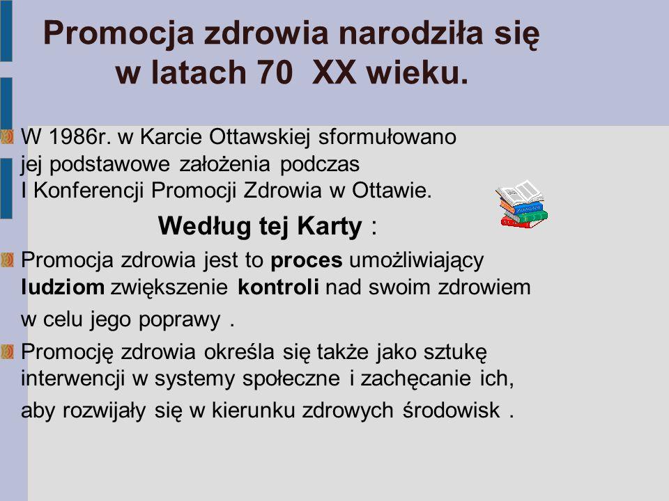 Koncepcja szkoły promującej zdrowie w Polsce (1992r.) Szkoła promująca zdrowie to siedlisko, w którym społeczność szkolna- pracownicy i uczniowie : podejmują wspólne działania dla poprawy swego zdrowia przez: zmianę zachowań zdrowotnych oraz tworzenie zdrowego środowiska fizycznego i społecznego ; uczą się, jak zdrowiej i lepiej żyć przez: edukację zdrowotną oraz rozwój osobisty, społeczny i zawodowy ;