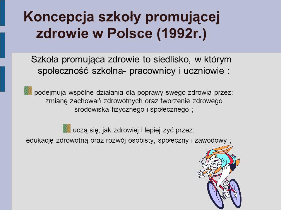 Koncepcja szkoły promującej zdrowie w Polsce (1992r.) Szkoła promująca zdrowie to siedlisko, w którym społeczność szkolna- pracownicy i uczniowie : po