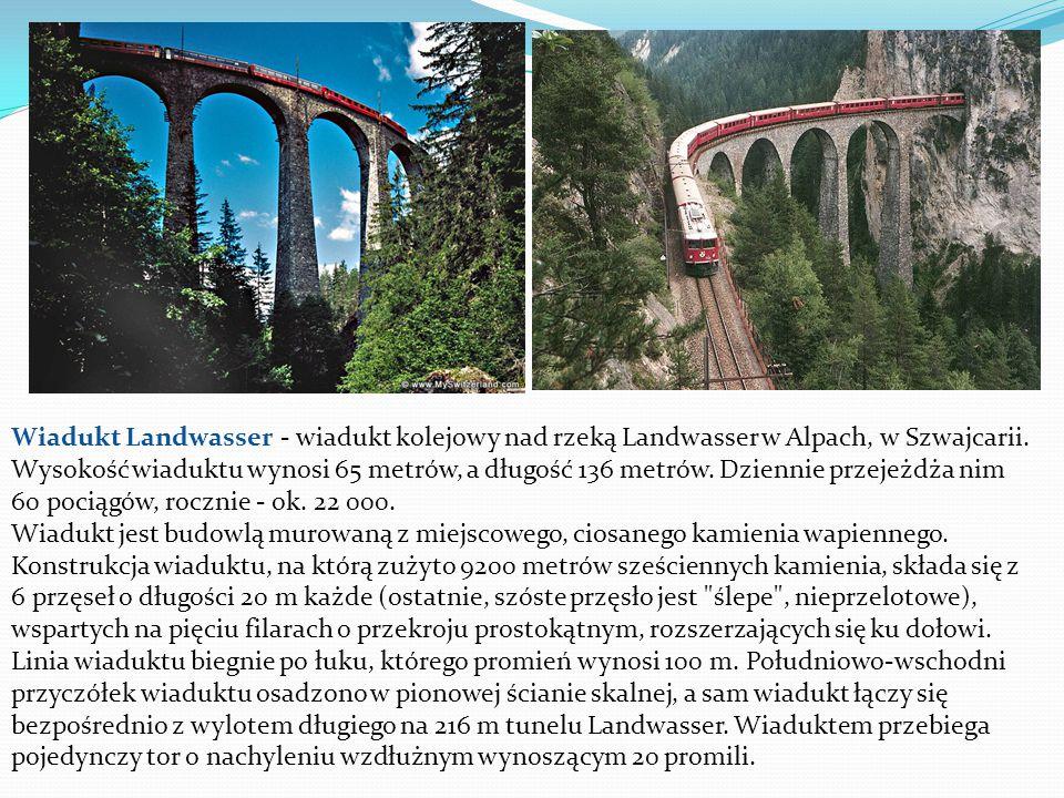 Wiadukt Landwasser - wiadukt kolejowy nad rzeką Landwasser w Alpach, w Szwajcarii.