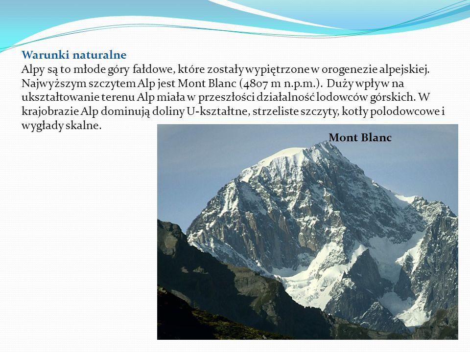 Warunki naturalne Alpy są to młode góry fałdowe, które zostały wypiętrzone w orogenezie alpejskiej.