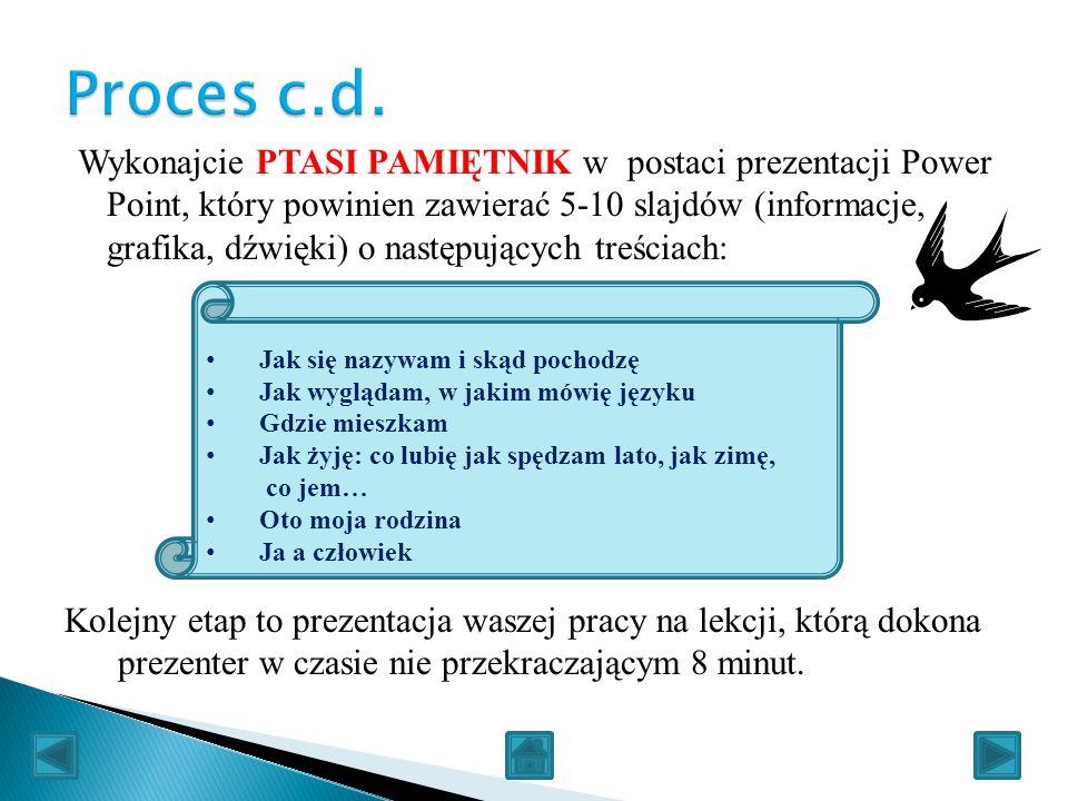 Wykonajcie PTASI PAMIĘTNIK w postaci prezentacji Power Point, który powinien zawierać 5-10 slajdów (informacje, grafika, dźwięki) o następujących treś