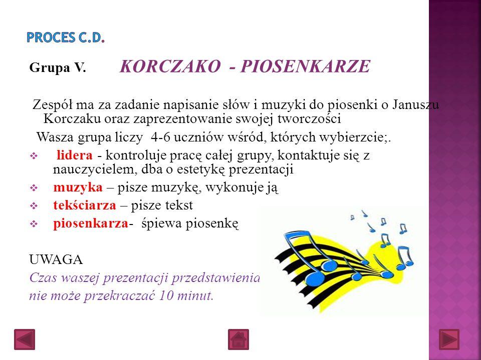 Grupa IV. KORCZAKO - AKTORZY Projekt waszego zespołu zakłada przygotowanie fragmentu przedstawienia dotyczącego życia lub twórczości Korczaka Wasza gr
