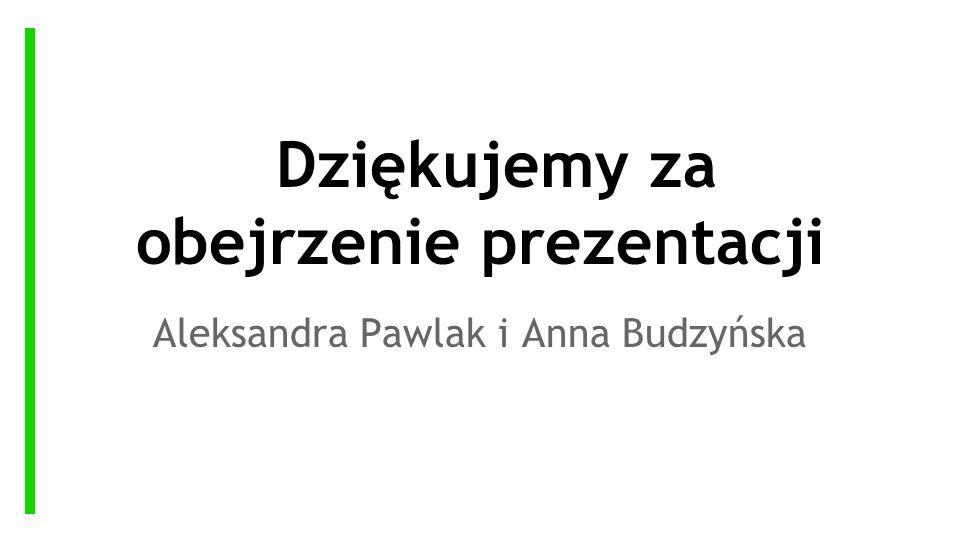 Dziękujemy za obejrzenie prezentacji Aleksandra Pawlak i Anna Budzyńska