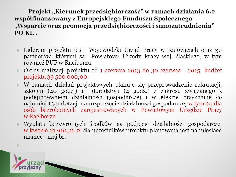  Liderem projektu jest Wojewódzki Urząd Pracy w Katowicach oraz 30 partnerów, którymi są Powiatowe Urzędy Pracy woj. śląskiego, w tym również PUP w R