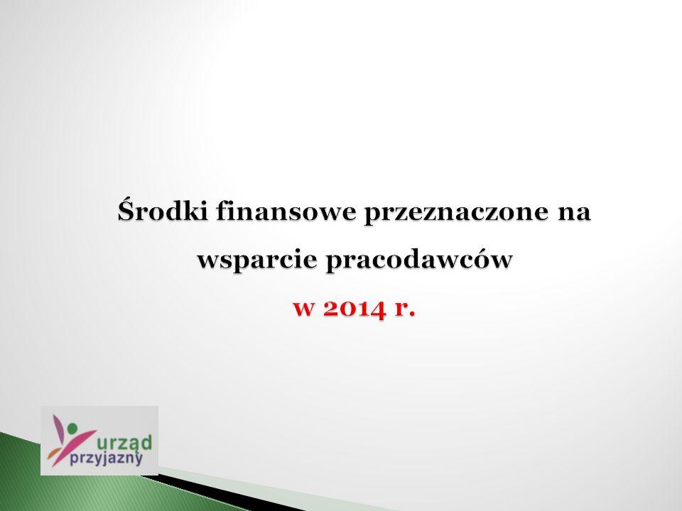 Środki finansowe przeznaczone na wsparcie pracodawców w 2014 r.