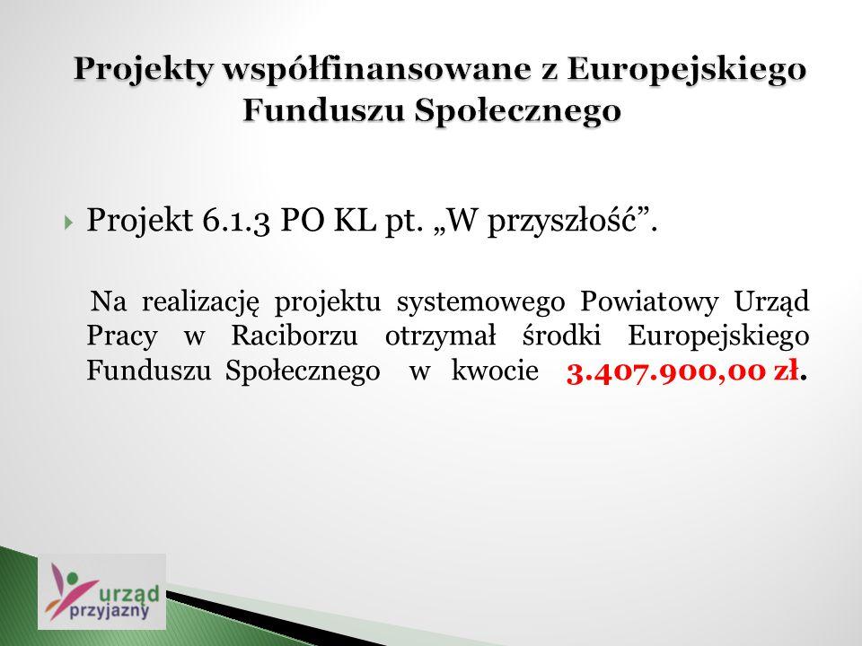 """ Projekt 6.1.3 PO KL pt. """"W przyszłość"""". Na realizację projektu systemowego Powiatowy Urząd Pracy w Raciborzu otrzymał środki Europejskiego Funduszu"""