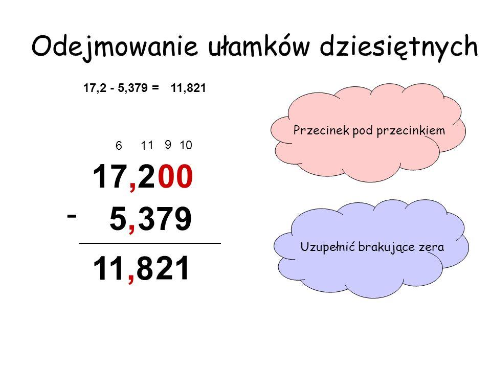 Odejmowanie ułamków dziesiętnych 17,2 - 5,379 = 11,821 17,2 - Przecinek pod przecinkiem, 5 379 Uzupełnić brakujące zera 00 1 9 10 21 16 11,8