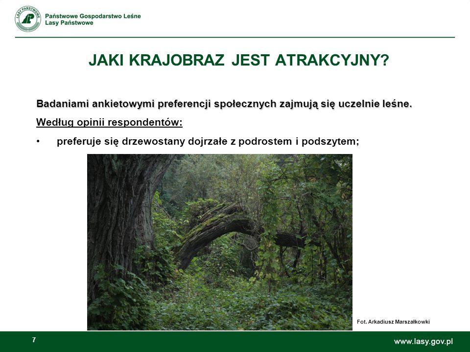 7 Badaniami ankietowymi preferencji społecznych zajmują się uczelnie leśne. Według opinii respondentów: preferuje się drzewostany dojrzałe z podrostem