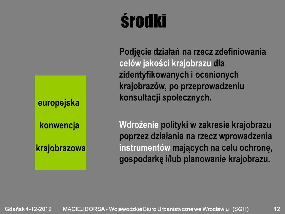 MACIEJ BORSA - Wojewódzkie Biuro Urbanistyczne we Wrocławiu (SGH) środki Podjęcie działań na rzecz zdefiniowania celów jakości krajobrazu dla zidentyf