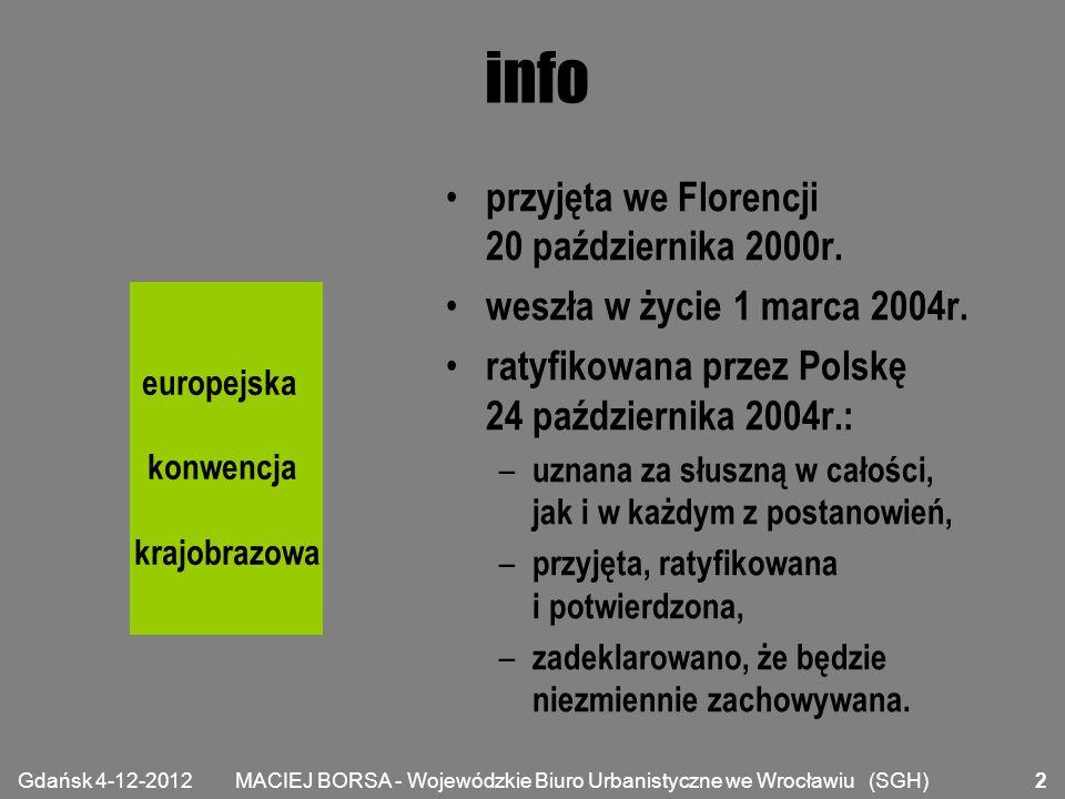 MACIEJ BORSA - Wojewódzkie Biuro Urbanistyczne we Wrocławiu (SGH) definicje krajobraz - obszar, postrzegany przez ludzi, którego charakter jest wynikiem działania i interakcji czynników przyrodniczych i/lub ludzkich; polityka w zakresie krajobrazu - wyrażenie przez właściwe organy publiczne ogólnych zasad, strategii i wytycznych, które pozwalają podejmować specjalne środki ukierunkowane na ochronę, gospodarkę i planowanie krajobrazów; europejska konwencja krajobrazowa Gdańsk 4-12-2012 3