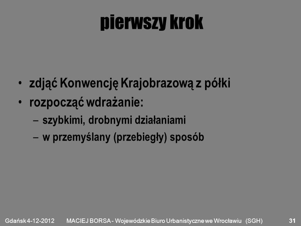 MACIEJ BORSA - Wojewódzkie Biuro Urbanistyczne we Wrocławiu (SGH) pierwszy krok zdjąć Konwencję Krajobrazową z półki rozpocząć wdrażanie: – szybkimi,