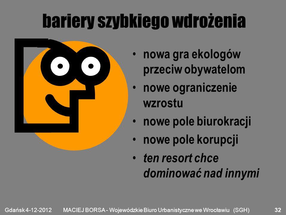MACIEJ BORSA - Wojewódzkie Biuro Urbanistyczne we Wrocławiu (SGH) bariery szybkiego wdrożenia nowa gra ekologów przeciw obywatelom nowe ograniczenie w