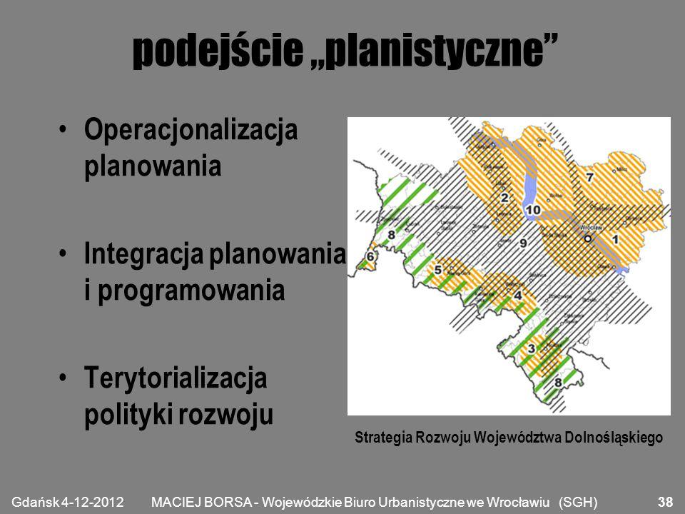 """MACIEJ BORSA - Wojewódzkie Biuro Urbanistyczne we Wrocławiu (SGH) podejście """"planistyczne"""" Operacjonalizacja planowania Integracja planowania i progra"""