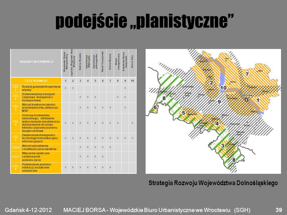 """MACIEJ BORSA - Wojewódzkie Biuro Urbanistyczne we Wrocławiu (SGH) podejście """"planistyczne"""" Gdańsk 4-12-2012 39 Strategia Rozwoju Województwa Dolnośląs"""