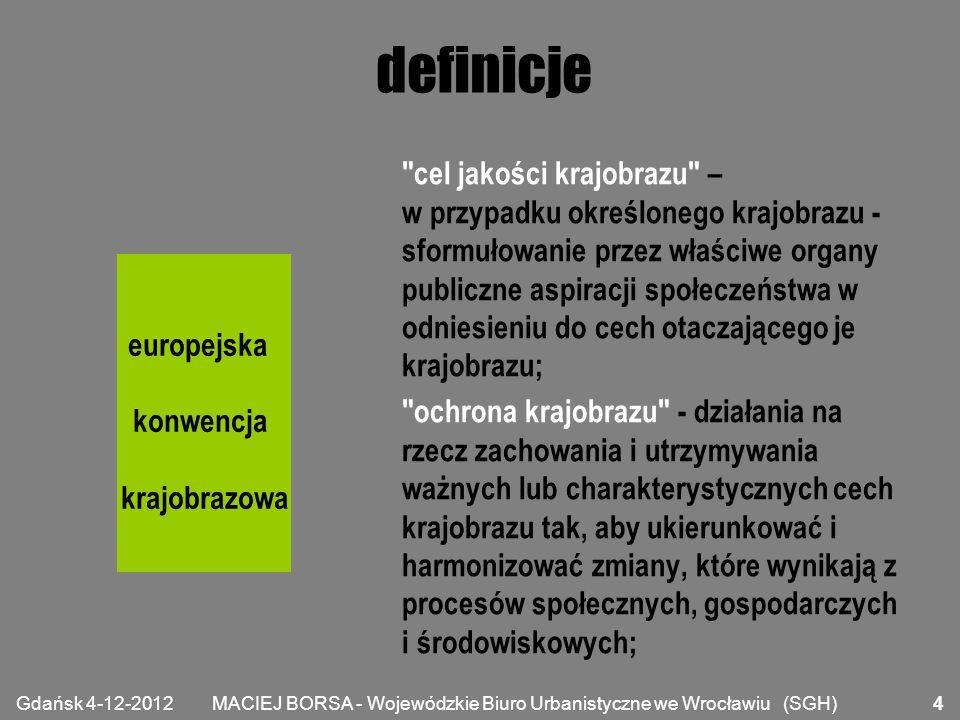 MACIEJ BORSA - Wojewódzkie Biuro Urbanistyczne we Wrocławiu (SGH) definicje gospodarowanie krajobrazem - działanie, z perspektywy trwałego i zrównoważonego rozwoju, w celu zapewnienia regularnego podtrzymania krajobrazu tak, aby kierować i harmonizować jego zmiany wynikające z procesów społecznych, gospodarczych i środowiskowych; planowanie krajobrazu - skuteczne działanie perspektywiczne mające na celu powiększenie, odtworzenie lub utworzenie krajobrazów.
