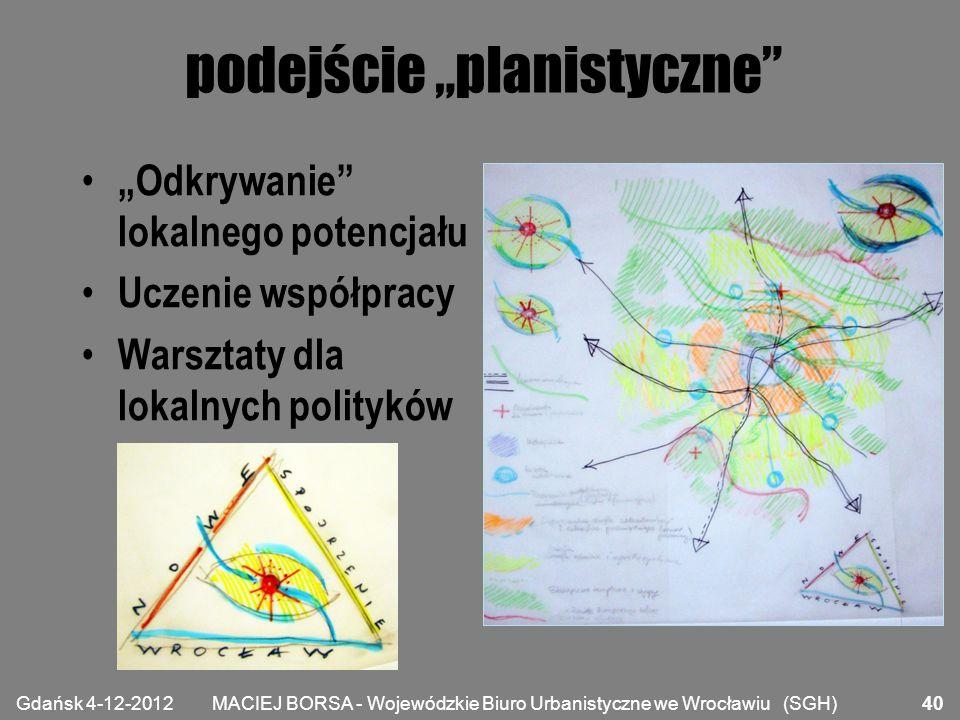 """MACIEJ BORSA - Wojewódzkie Biuro Urbanistyczne we Wrocławiu (SGH) podejście """"planistyczne"""" """"Odkrywanie"""" lokalnego potencjału Uczenie współpracy Warszt"""