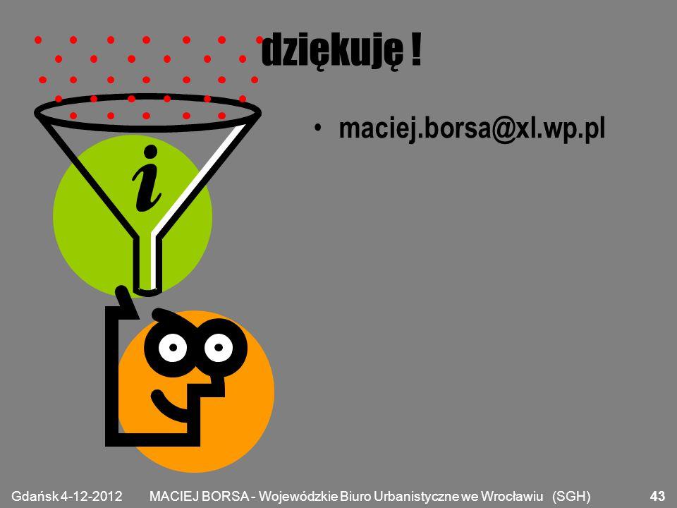 MACIEJ BORSA - Wojewódzkie Biuro Urbanistyczne we Wrocławiu (SGH) dziękuję ! maciej.borsa@xl.wp.pl Gdańsk 4-12-2012 43