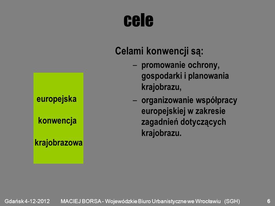 MACIEJ BORSA - Wojewódzkie Biuro Urbanistyczne we Wrocławiu (SGH) zakres Jeśli Państwo nie zastrzegło inaczej, konwencja stosuje się do jego całego terytorium i obejmuje obszary przyrodnicze, wiejskie, miejskie i podmiejskie.