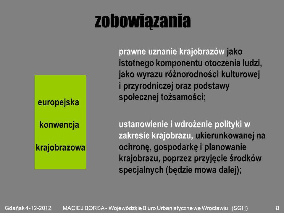 MACIEJ BORSA - Wojewódzkie Biuro Urbanistyczne we Wrocławiu (SGH) zobowiązania ustanowienie procedur udziału ogółu społeczeństwa, organów lokalnych i regionalnych oraz innych stron zainteresowanych zdefiniowaniem i wdrożeniem polityki w zakresie krajobrazu; zintegrowania krajobrazu z własną polityką w zakresie planowania regionalnego i urbanistycznego i własną polityką kulturalną, środowiskową, rolną, społeczną i gospodarczą, jak również z wszelką inną polityką, która bezpośrednio lub pośrednio oddziałuje na krajobraz.