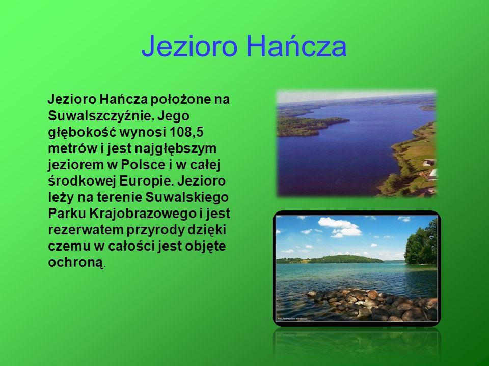 Jezioro Hańcza Jezioro Hańcza położone na Suwalszczyźnie. Jego głębokość wynosi 108,5 metrów i jest najgłębszym jeziorem w Polsce i w całej środkowej